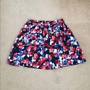 Express Navy Blue Floral Flared Skirt Size 8